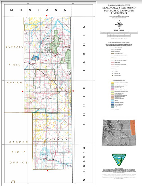A map showing BLM Wyoming administered areas of legal public access in the Lander Field Office