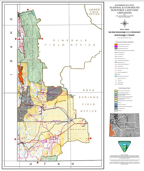 A map showing BLM Wyoming administered areas of legal public access in the Kemmerer Field Office