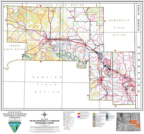 A map showing BLM Wyoming administered areas of legal public access in the Casper Field Office