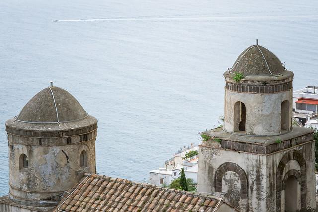 The Church of SS Annunziata from Villa Rufolo built above the sea, historic center of Ravello, Amalfi Coast of Italy