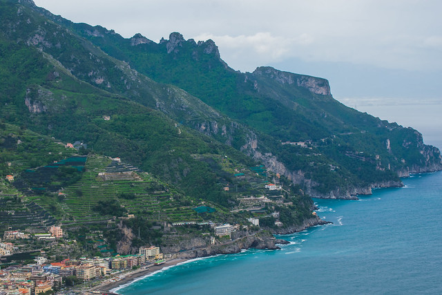 Sea, Beach, and Mountains view from the Garden of Villa Rufolo, historic center of Ravello, Amalfi Coast of Italy