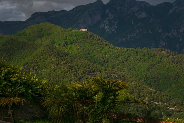 A Beautiful Mountains view from the Garden of Villa Rufolo, historic center of Ravello, Amalfi Coast of Italy