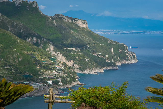 Sea and Mountains view from the Garden of Villa Rufolo, historic center of Ravello, Amalfi Coast of Italy