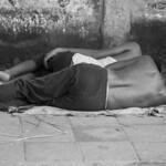 Sleeping on footpath