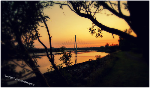 sunset bridge river wearside sunderland spire