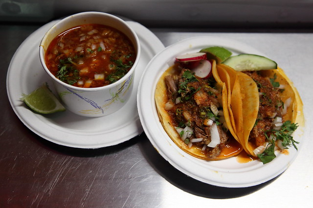 Consomé and tacos, Birria-Landia NYC, Jackson Heights, Queens