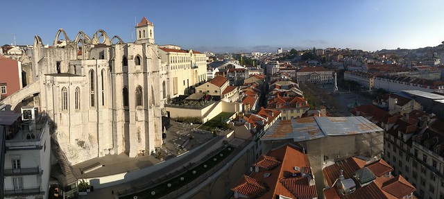 Lisbon, Portugal - panorama to the north taken from the observation deck of the Elevador Santa Justa early in the morning - this view looks towards the partially ruined Carmo Monastery, the large cream-colored block of the National Guard headquarters, and
