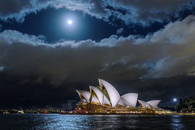 Strawberry Full Moon over the Sydney Opera House