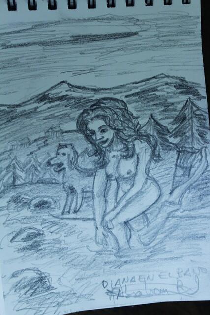 boceto DINA5,Diosa Diana en el Río