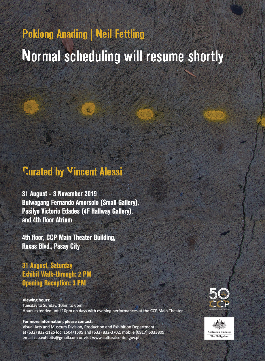 """""""NORMAL SCHEDULING WILL RESUME SHORTLY"""" BY POKLONG ANADING X NEIL FETTLING"""
