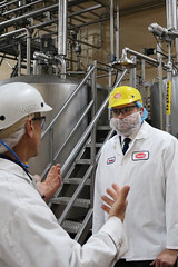 Representatives Tami Zawistowski and Christopher Davis toured the HP Hood Ice Cream Division in Suffield with Plant Manager Peter Fabbri.