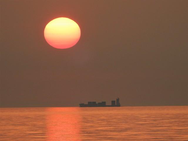 Sunrise and Silhouetted Ship - Newbiggin-By-The-Sea