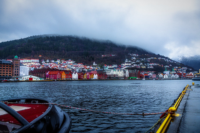 Bergen's colorful wooden houses on the old wharf, Norway- 12a