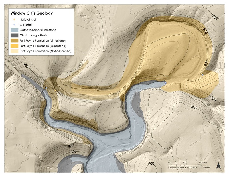 Geologic Map, Window Cliffs SNA, Putnam County, Tennessee