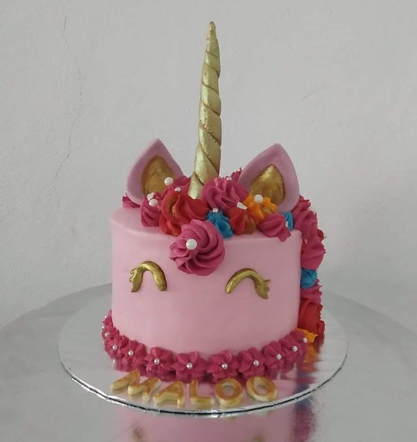 Pink Unicorn Cake by Aishath Inayerr