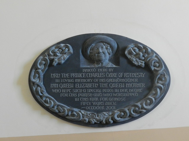 Queen Mother Plaque, Canisbay Church, Canisby, Caithness, Aug 2017
