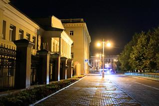 Ordzhonikidze street in Kemerovo city in the night