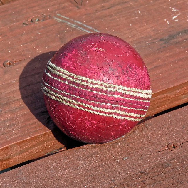 Cricket ball at Southwater CC, in Southwater, West Sussex, England