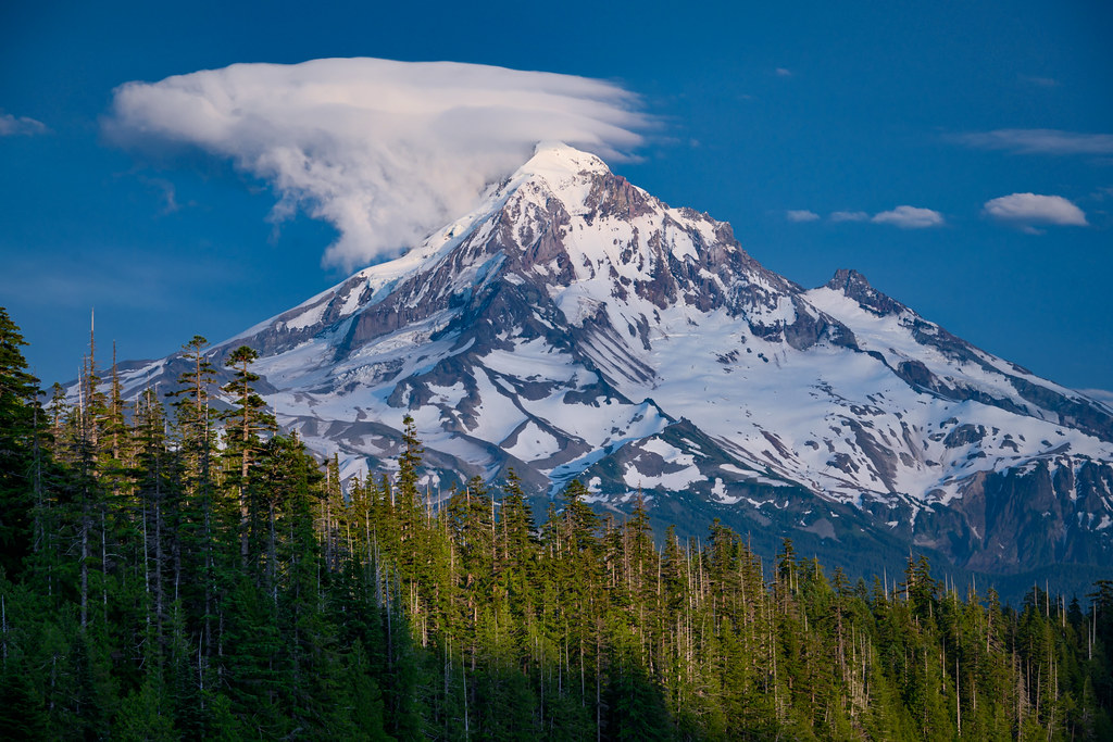 Lenticular cloud above Mt. Hood as seen from Lost Lake, Mt. Hood National Forest, Cascade Mountains, Oregon