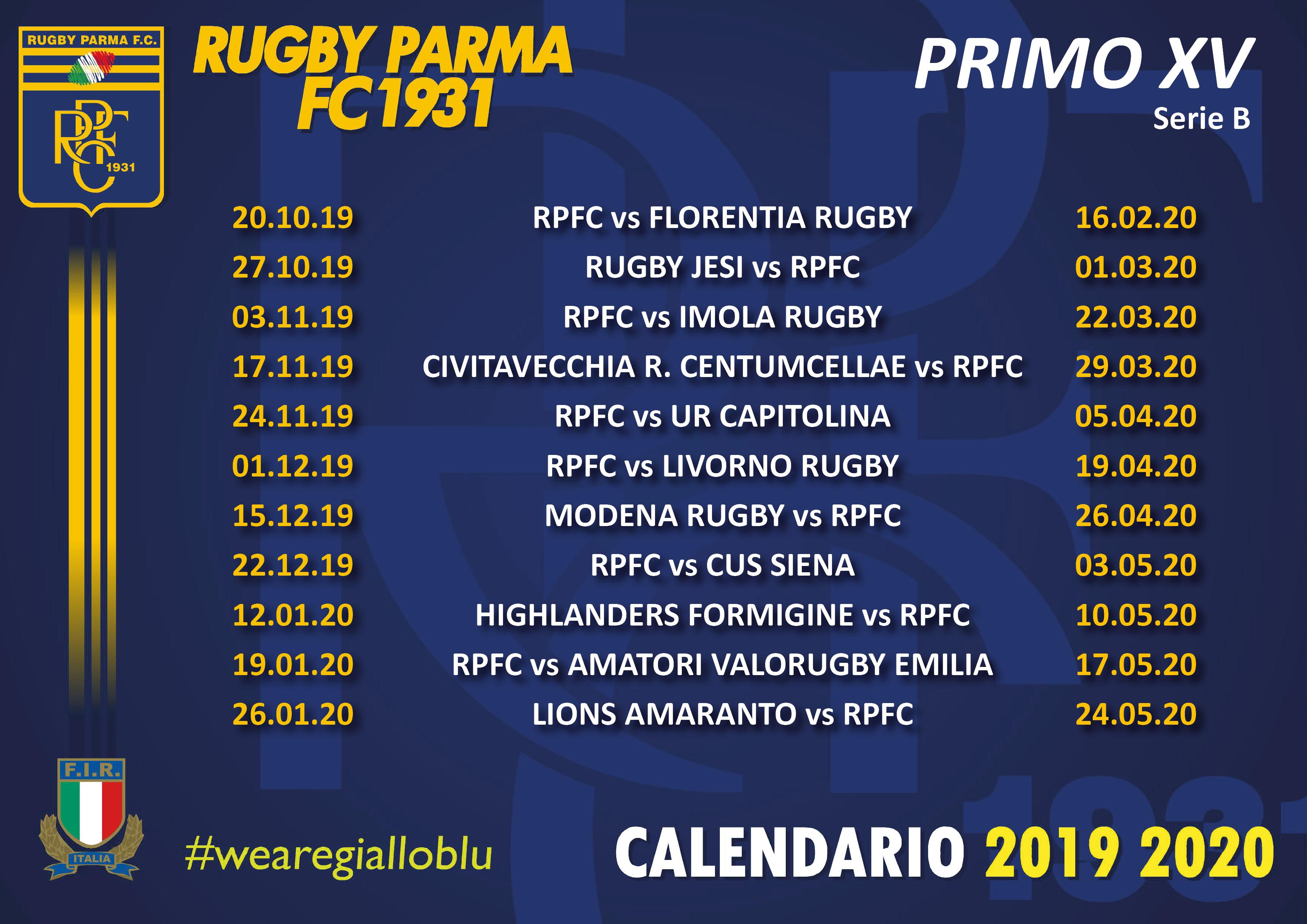 Calendario Tornei Minirugby 2020.Calendario 1 Xv Rugby Parma