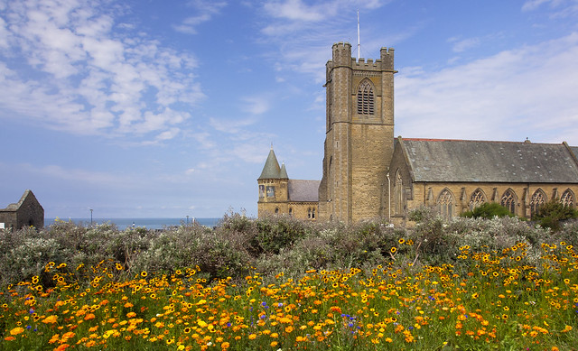 Flowers and The Old College, Aberystwyth ...