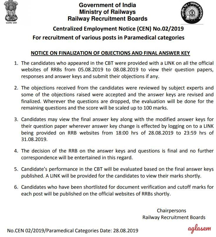 "RRB Paramedical Result 2019: Final modified answer key published; Marks releasing ""shortly"""