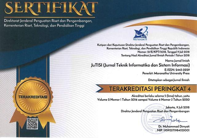 Sertifikat Akreditasi JuTISI - TMT Vo. 2 No. 1 Thn. 2016 sd Vol. 6  No. 3 Thn. 2020