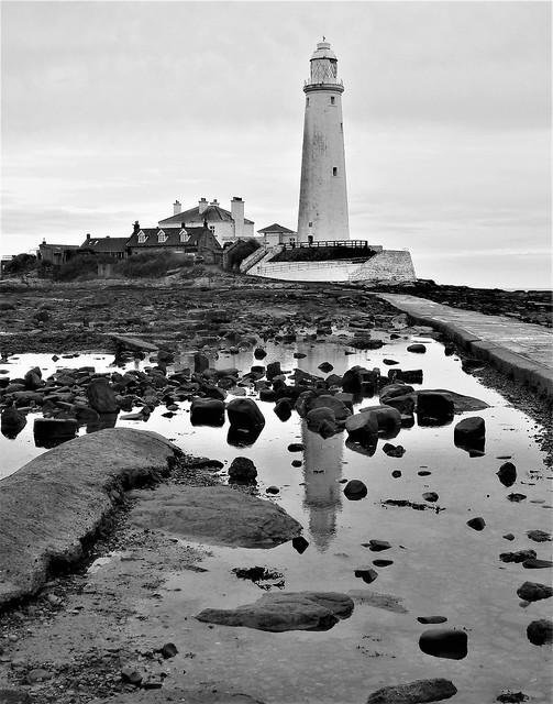St. Mary's Lighthouse - Dawn B&W