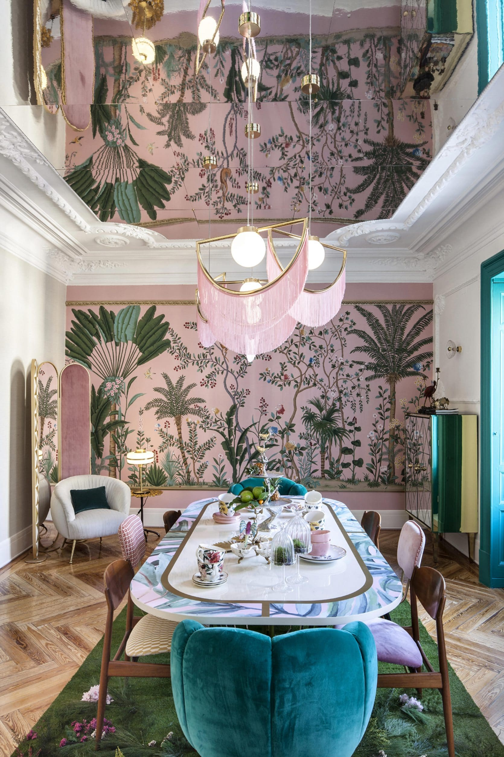 Emily Henderson Modern Chinoiserie   Pink and Green Dining Room   20 Photos That Will Prove Decorating with Pink and Green is the Next Big Thing