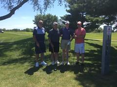 Harry Mussatto Golf Course  L-r: Bill Hillyer, Sonny Liston '78, Bryan Liston, Blake Bainter '14