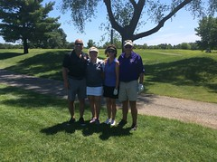 Harry Mussatto Golf Course  L-r: Nick Knowles '02 '07, Carol Scott '70, Barb Baily '72 '78 '91, Jack Baily