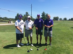 Harry Mussatto Golf Course  L-r: Paul Cesaretti '76 '80, Garry Johnson '15, Brad Bainter '79 '83, Charlie Hubbard '76