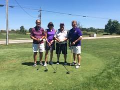 Harry Mussatto Golf Course  L-r: Gary Birch '75, Lois Boaz '74, Tom Henderson '73, John Sanders '14