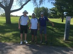 Harry Mussatto Golf Course  L-r: Paul Runser, Assistant Women's Baksetball Coach Daniel Chapla, Head Women's Basketball Coach JD Gravina