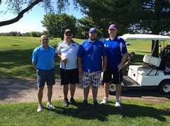 Harry Mussatto Golf Course  L-r: Jeff Stockton, Jack Schoonover '75 '93, Rich Sample '79, Ken Durkin '81 '84