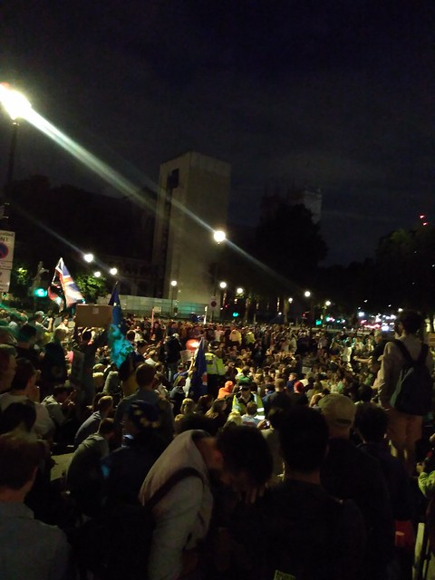 Large number of people sitting down at parliament Square