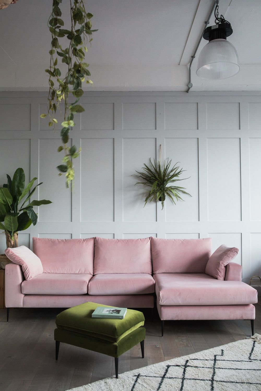 Rose and Grey Epsom Corner Sofa | Pale Pink Couch | 20 Photos That Will Prove Decorating with Pink and Green is the Next Big Thing