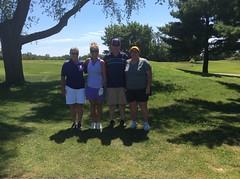 Harry Mussatto Golf Course  L-r: Connie Garner '78 '81, Amanda Silberer '95 '97, Dale Billam, Gayle Spencer '87