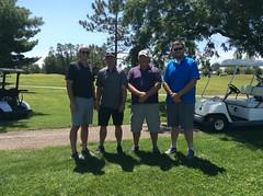 Harry Mussatto Golf Course  L-r: Josh Hamm, Brock Bainter '04, Marc Lawver '87, Luke Burling '13