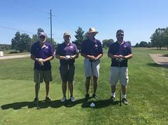Harry Mussatto Golf Course  L-r: Tom Carper '82. Bryce Carper, Joe Sullivan, Ted Renner '96 '98