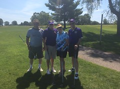 Harry Mussatto Golf Course  L-r: Fred Longacre '64, Brian Savage '73, Linda Savage, Roger Clawson '77