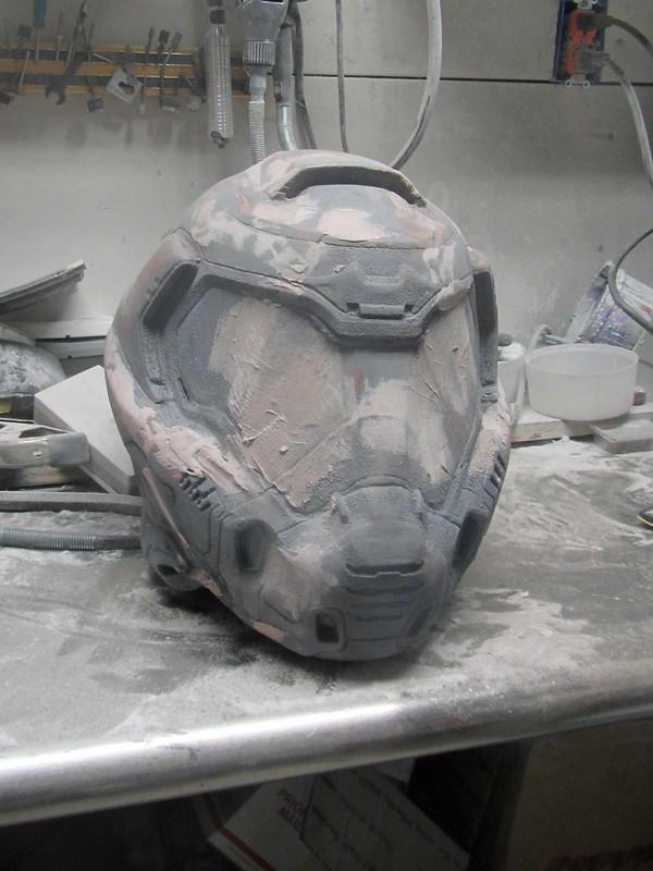 Doomguy Helmet Sanding Bondo Round One