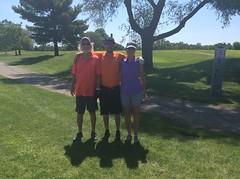 Harry Mussatto Golf Course  L-r: William Pumo '79 '89, Ryley Pumo, Brigid Pumo '79 '02