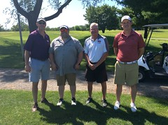Harry Mussatto Golf Course  L-r: John Meixner '95 '05, Marc Kessler '11, Scott Conlin, Cole Thornton '11