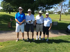 Harry Mussatto Golf Course  L-r: Gregory Reuschel '94, Samuel Moran, OJ Clark '77 '85, Bob Fitzgerald '74