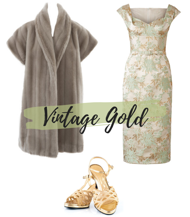 Aug 19 Retro Dress Vin Gold