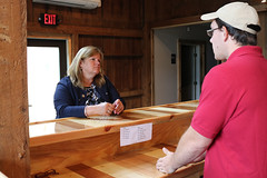 Rep. Haines toured the new tap room at Yankee Cider Co. with the Staehly family.