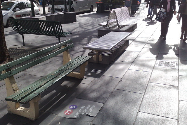 Swanston Street - display of old benches, August 2009