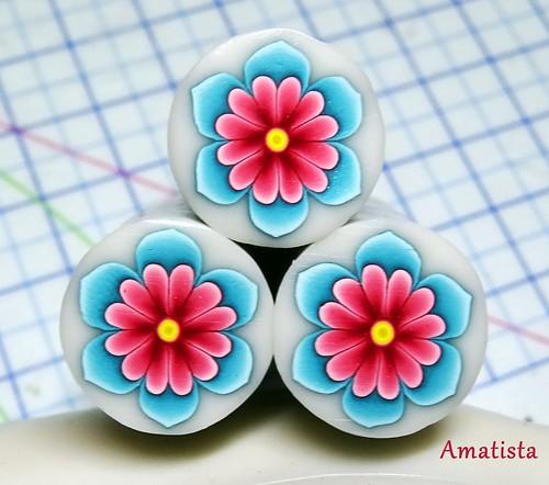 Murrina flor turquesa-rosa