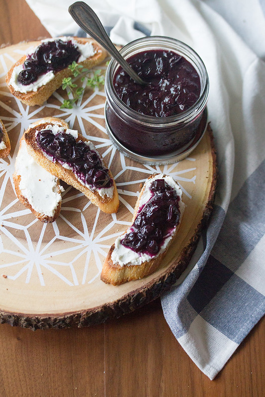 Blueberry-Onion Jam with Goat Cheese Crostini